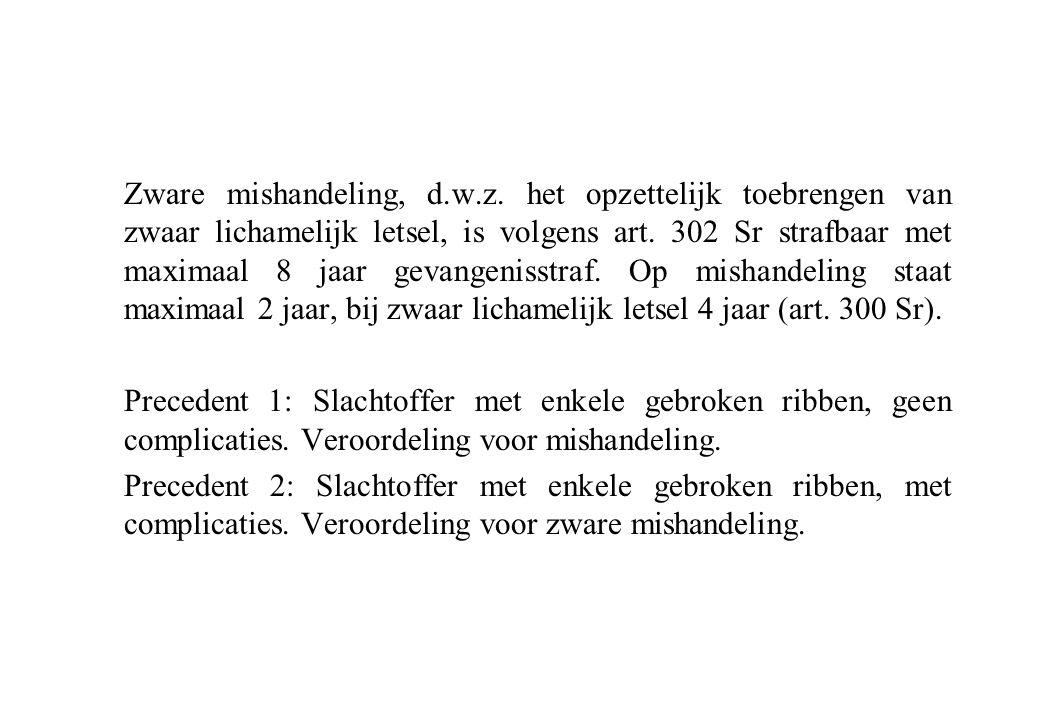 Zware mishandeling, d.w.z. het opzettelijk toebrengen van zwaar lichamelijk letsel, is volgens art. 302 Sr strafbaar met maximaal 8 jaar gevangenisstr