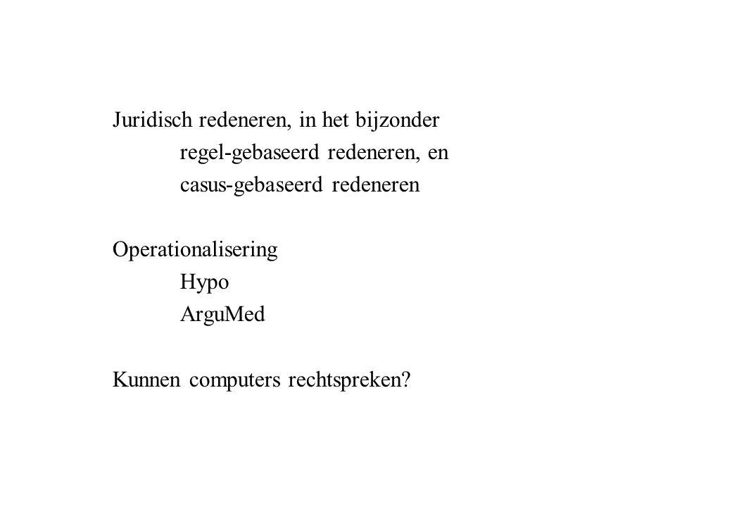 Juridisch redeneren, in het bijzonder regel-gebaseerd redeneren, en casus-gebaseerd redeneren Operationalisering Hypo ArguMed Kunnen computers rechtspreken