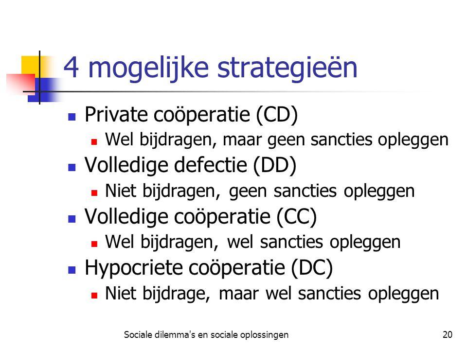 Sociale dilemma's en sociale oplossingen20 4 mogelijke strategieën Private coöperatie (CD) Wel bijdragen, maar geen sancties opleggen Volledige defect