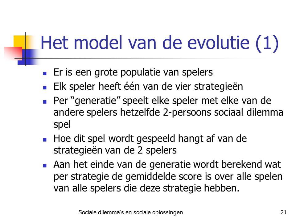 Sociale dilemma's en sociale oplossingen21 Het model van de evolutie (1) Er is een grote populatie van spelers Elk speler heeft één van de vier strate