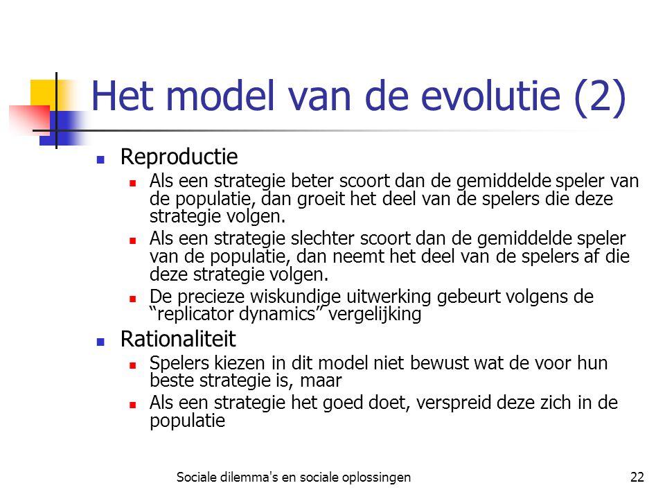 Sociale dilemma's en sociale oplossingen22 Het model van de evolutie (2) Reproductie Als een strategie beter scoort dan de gemiddelde speler van de po
