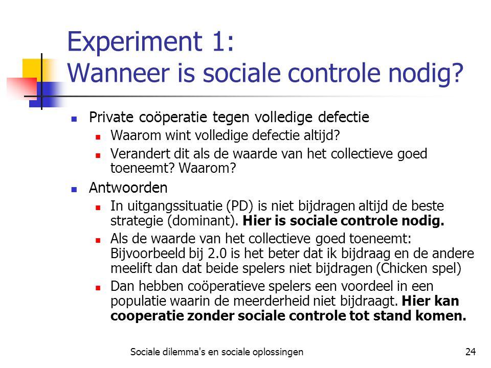 Sociale dilemma's en sociale oplossingen24 Experiment 1: Wanneer is sociale controle nodig? Private coöperatie tegen volledige defectie Waarom wint vo