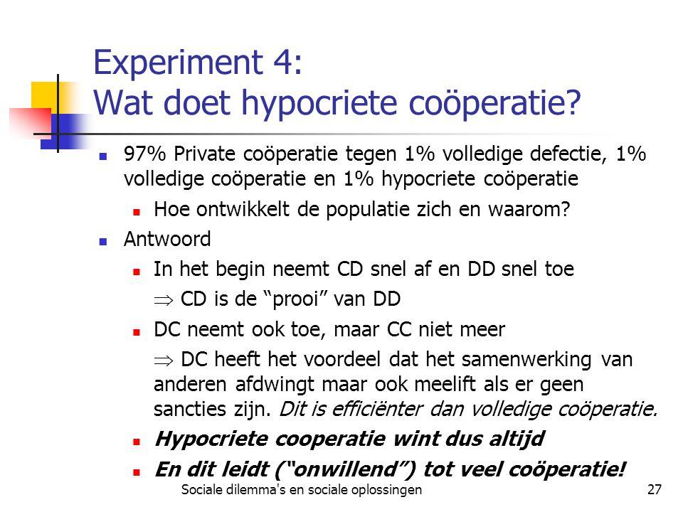 Sociale dilemma's en sociale oplossingen27 Experiment 4: Wat doet hypocriete coöperatie? 97% Private coöperatie tegen 1% volledige defectie, 1% volled
