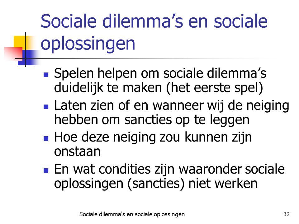 Sociale dilemma's en sociale oplossingen32 Sociale dilemma's en sociale oplossingen Spelen helpen om sociale dilemma's duidelijk te maken (het eerste
