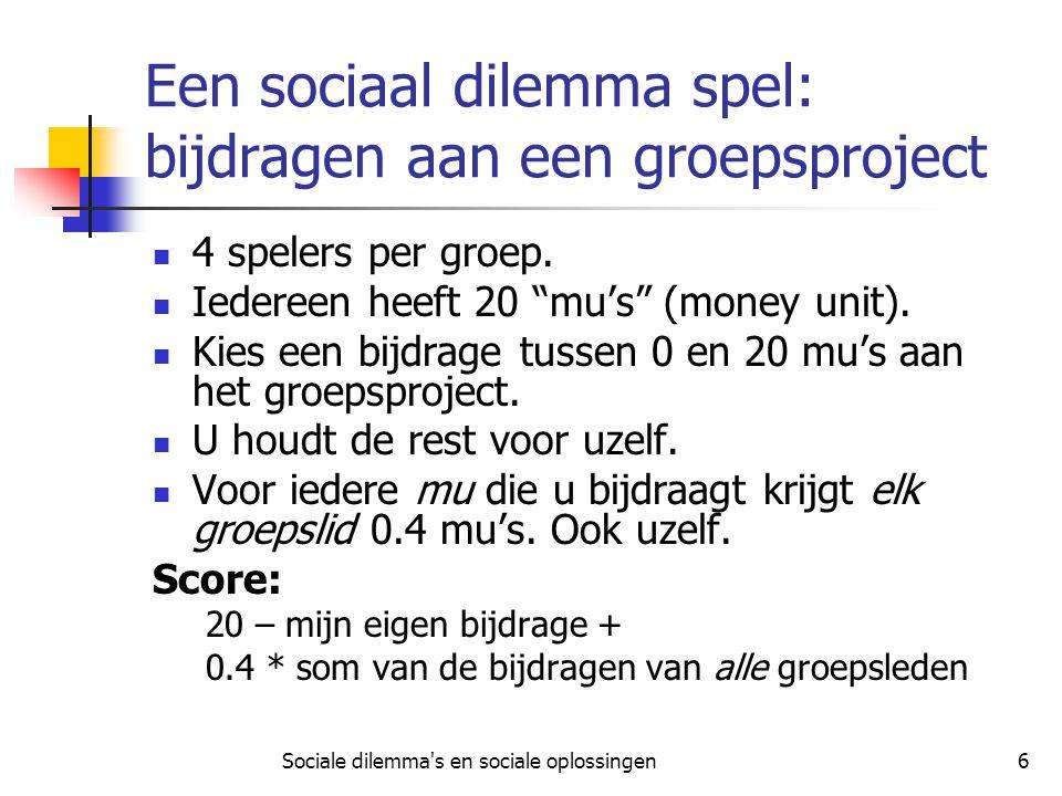 Sociale dilemma s en sociale oplossingen7 Groepsproject spel: enkele rekensommetjes Als iedereen alles (20) bijdraagt: Scoort iedereen 20 – 20 + 0.4*80 = 32 Als iedereen niets (0) bijdraagt: Scoort iedereen 20 – 0 + 0.4*0 = 20 Als ik niets (0) bijdraag, en de anderen alles (20): Scoor ik 20 – 0 + 0.4*60 = 44 Als ik alles (20) bijdraag, en de anderen niets (0): Scoor ik 20 – 20 + 0.4*20 = 8