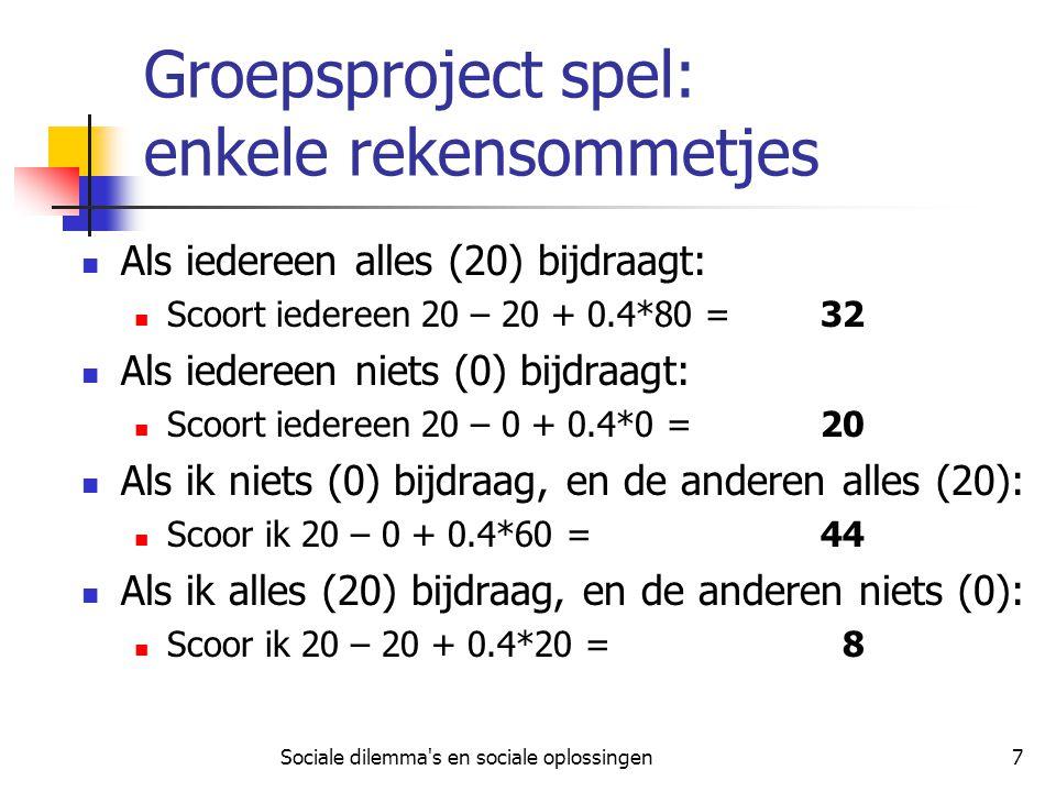 Sociale dilemma s en sociale oplossingen8 Groepsproject spel: uitvoering U ontvangt verdekt een identificatienummer .