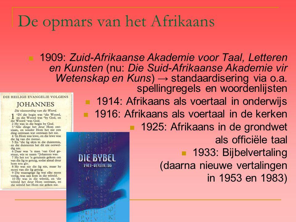 De opmars van het Afrikaans 1909: Zuid-Afrikaanse Akademie voor Taal, Letteren en Kunsten (nu: Die Suid-Afrikaanse Akademie vir Wetenskap en Kuns) → standaardisering via o.a.