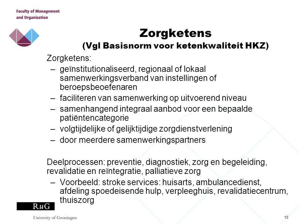 15 Zorgketens (Vgl Basisnorm voor ketenkwaliteit HKZ) Zorgketens: –geïnstitutionaliseerd, regionaal of lokaal samenwerkingsverband van instellingen of