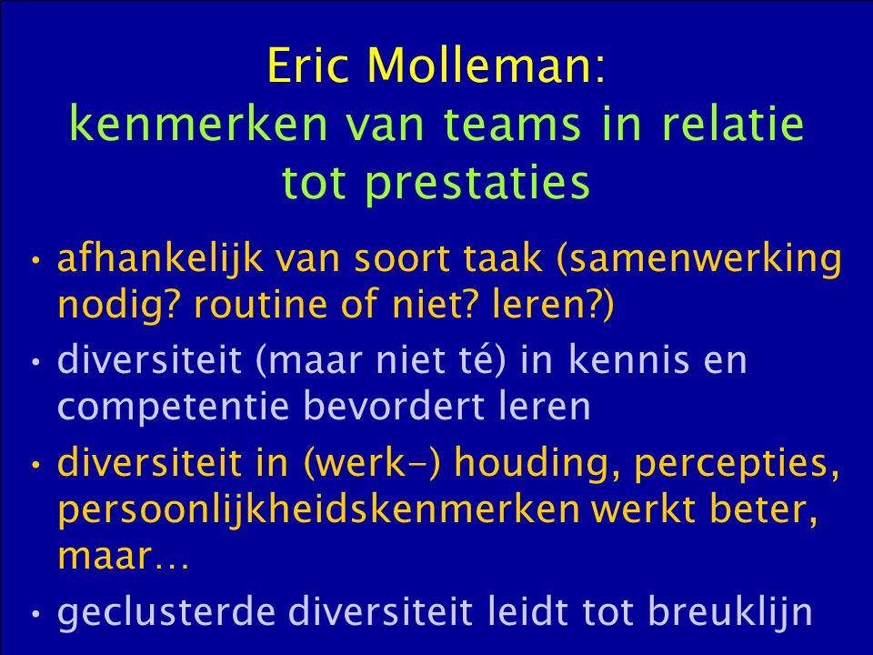 Eric Molleman: kenmerken van teams in relatie tot prestaties afhankelijk van soort taak (samenwerking nodig? routine of niet? leren?) diversiteit (maa