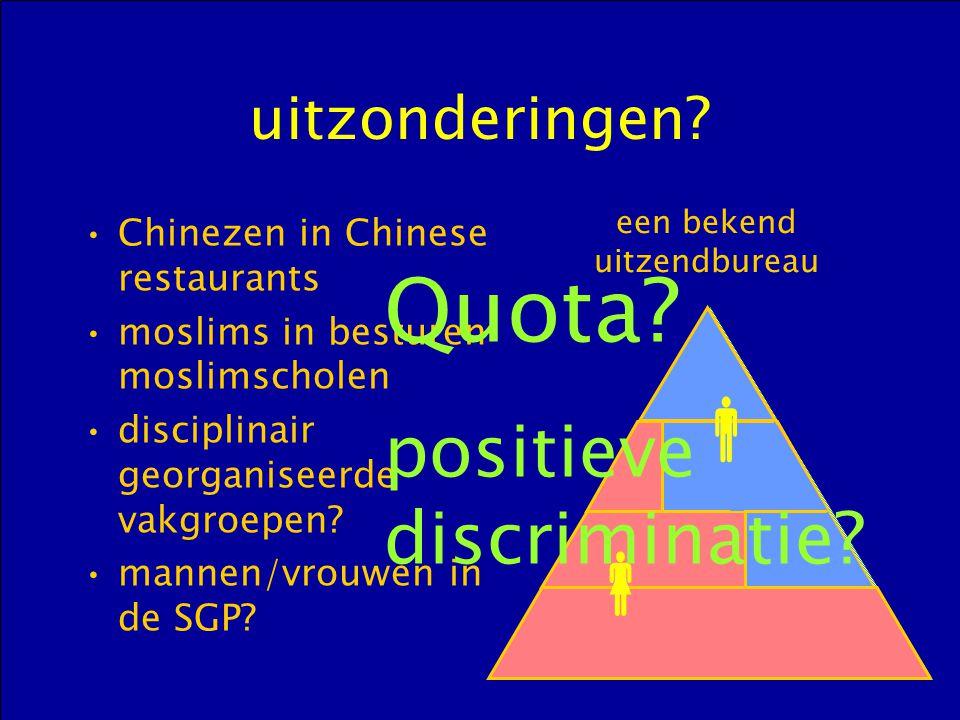 uitzonderingen? Chinezen in Chinese restaurants moslims in besturen moslimscholen disciplinair georganiseerde vakgroepen? mannen/vrouwen in de SGP? 