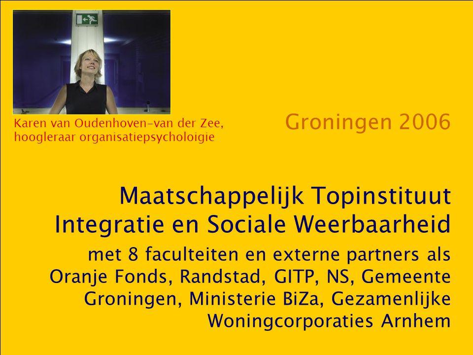 Groningen 2006 Maatschappelijk Topinstituut Integratie en Sociale Weerbaarheid met 8 faculteiten en externe partners als Oranje Fonds, Randstad, GITP,