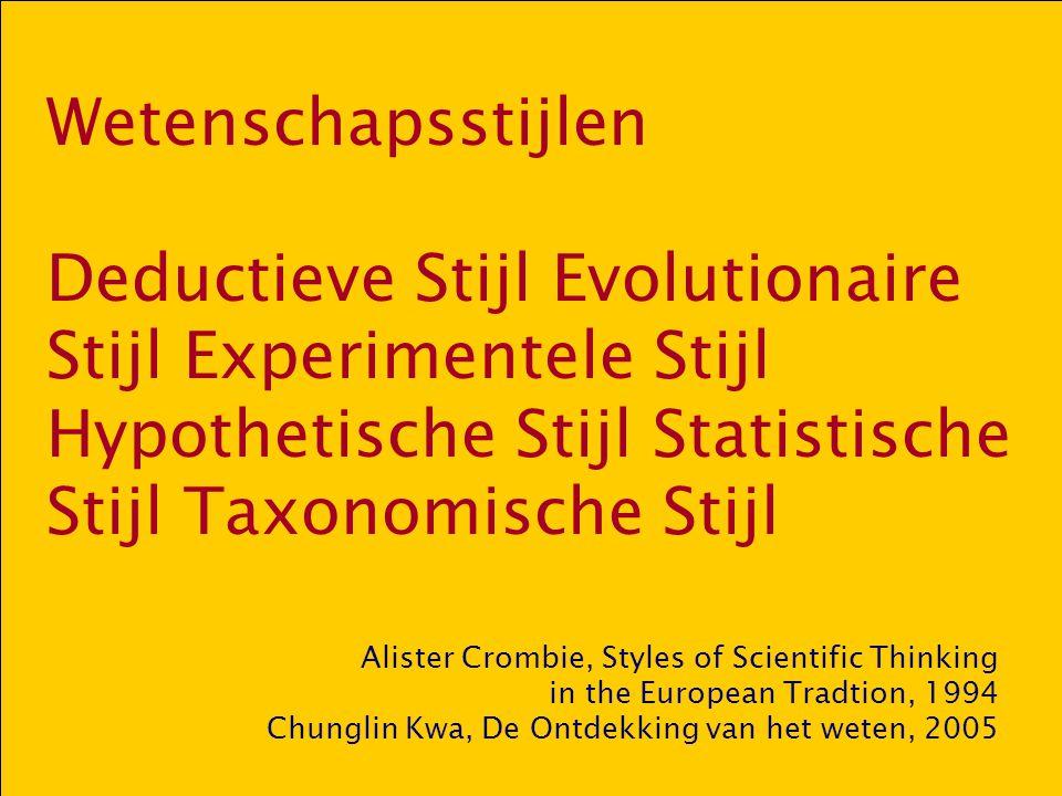Wetenschapsstijlen Deductieve Stijl Evolutionaire Stijl Experimentele Stijl Hypothetische Stijl Statistische Stijl Taxonomische Stijl Alister Crombie,