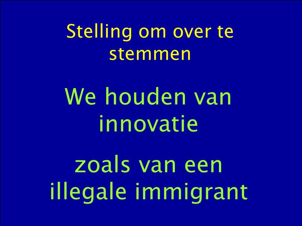 Stelling om over te stemmen We houden van innovatie zoals van een illegale immigrant