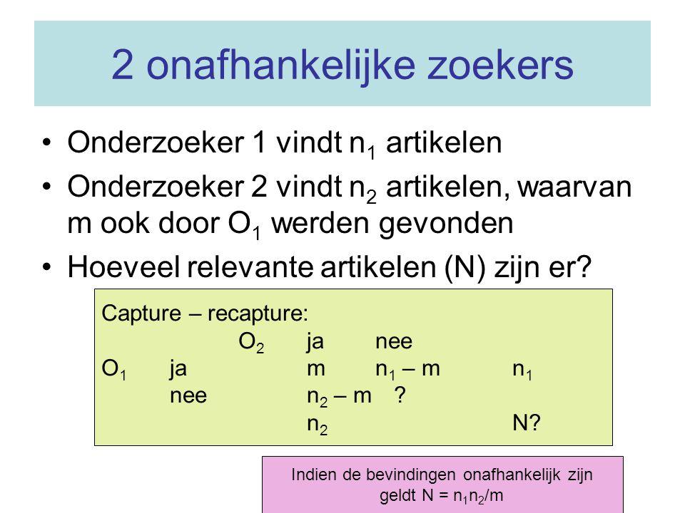 Twee voorbeelden N = 24*21/18 = 28 (waarvan reeds 27 gevonden) N = 20*30/10 = 60 (waarvan reeds 40 gevonden)