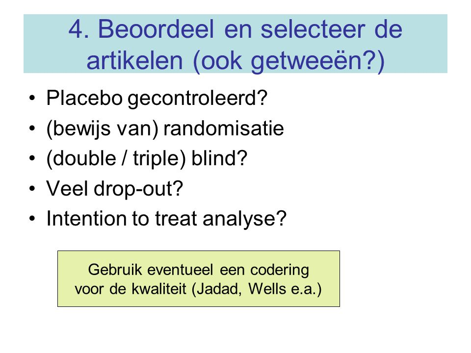 Data extractie en analyse Leandro: Meta-analysis in Medical Research (CMB, incl.