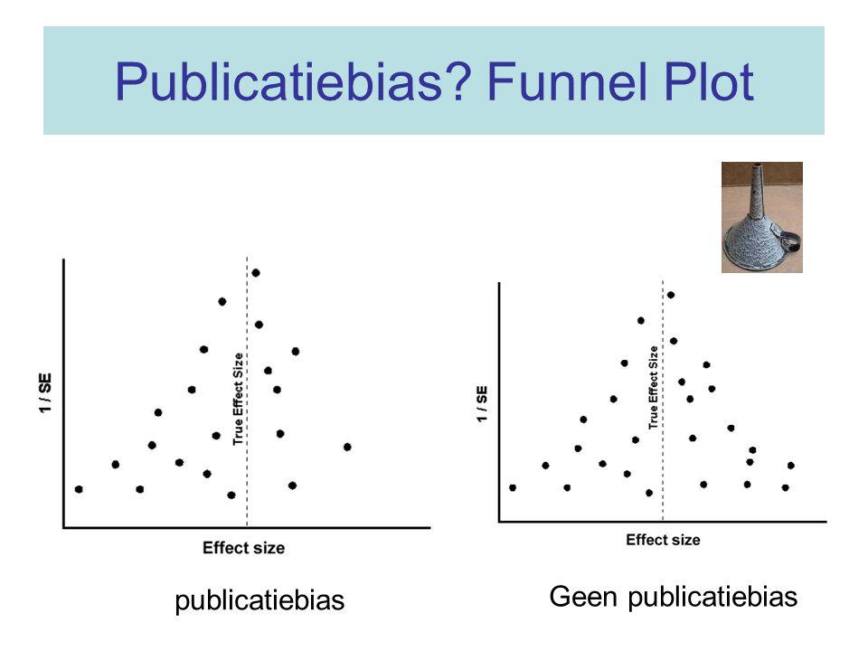 Testen voor asymmetrie van de Funnel plot (publicatiebias?) Macaskill, Walter, Irwig: A comparison of methods to detect publication bias in meta-analysis (Statistics in Medicine 2001) –Begg's rank correlation –Egger regression –Funnel plot regression