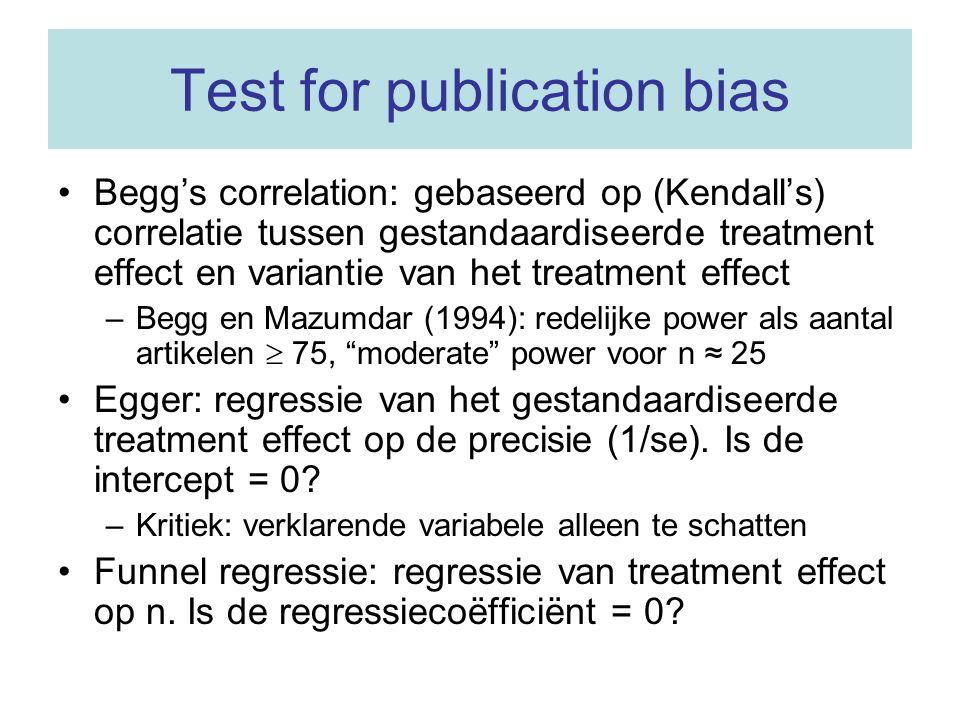 Testen voor asymmetrie van de funnel plot Over het algemeen lage power voor alle testen.