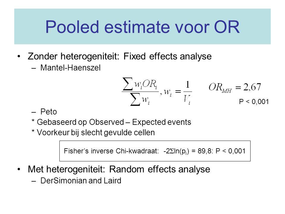 Voorbeeld in R (aangevulde data) Fixed effects: Mantel-Haenszel OR =1.85 95% CI ( 1.45,2.38 ) Test for heterogeneity: X^2( 14 ) = 52.04 ( p-value 0 ) Random effects ( DerSimonian-Laird ) meta-analysis Summary OR= 2.32 95% CI ( 1.36, 3.97 ) Estimated random effects variance: 0.75