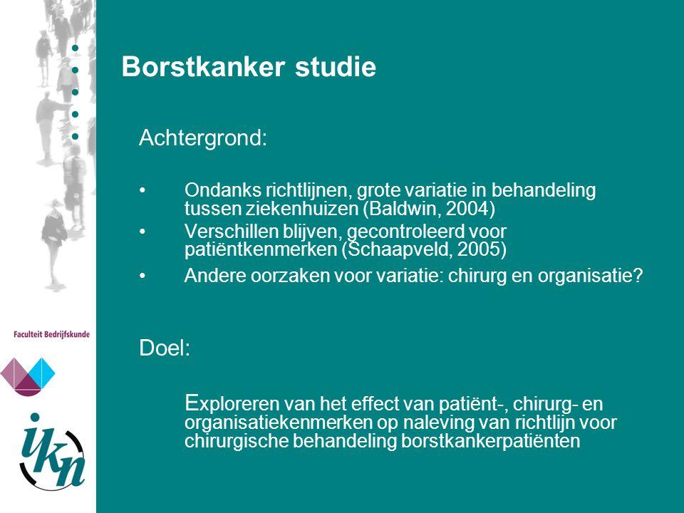 Borstkanker studie Achtergrond: Ondanks richtlijnen, grote variatie in behandeling tussen ziekenhuizen (Baldwin, 2004) Verschillen blijven, gecontrole