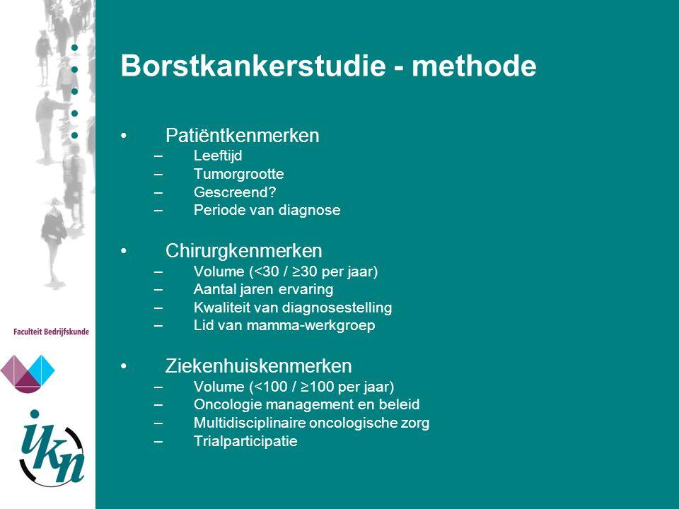 Borstkankerstudie - methode Patiëntkenmerken –Leeftijd –Tumorgrootte –Gescreend? –Periode van diagnose Chirurgkenmerken –Volume (<30 / ≥30 per jaar) –