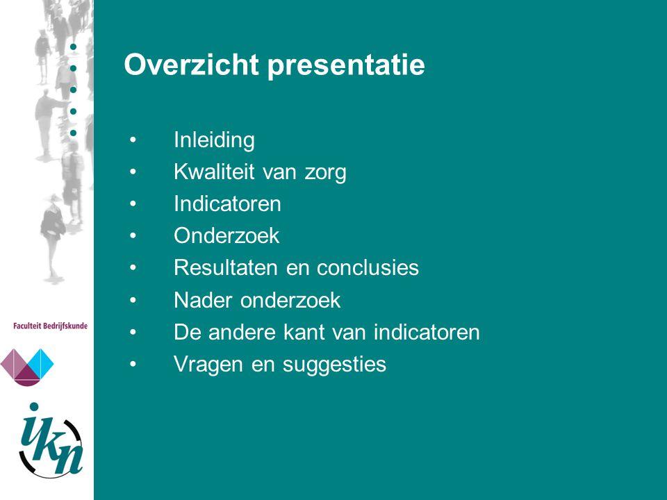 Overzicht presentatie Inleiding Kwaliteit van zorg Indicatoren Onderzoek Resultaten en conclusies Nader onderzoek De andere kant van indicatoren Vrage