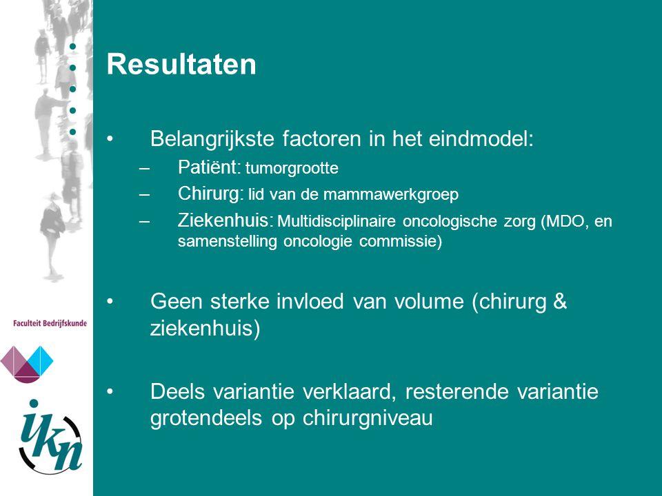 Resultaten Belangrijkste factoren in het eindmodel: –Patiënt: tumorgrootte –Chirurg: lid van de mammawerkgroep –Ziekenhuis: Multidisciplinaire oncolog