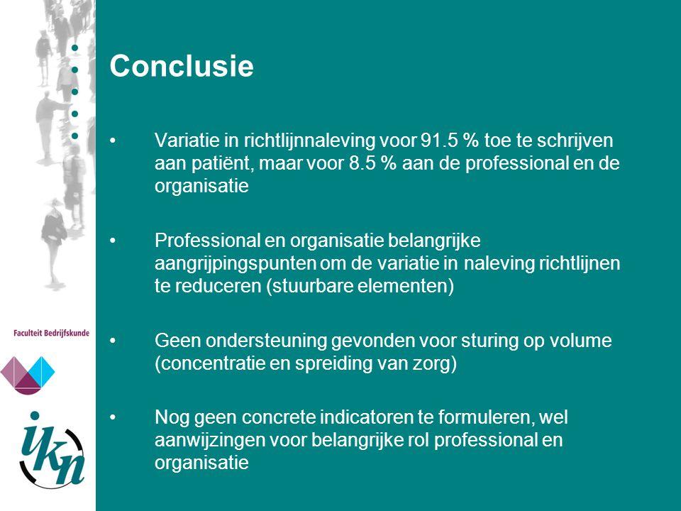 Conclusie Variatie in richtlijnnaleving voor 91.5 % toe te schrijven aan patiënt, maar voor 8.5 % aan de professional en de organisatie Professional e