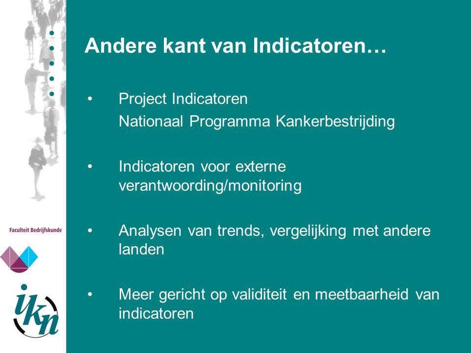 Andere kant van Indicatoren… Project Indicatoren Nationaal Programma Kankerbestrijding Indicatoren voor externe verantwoording/monitoring Analysen van