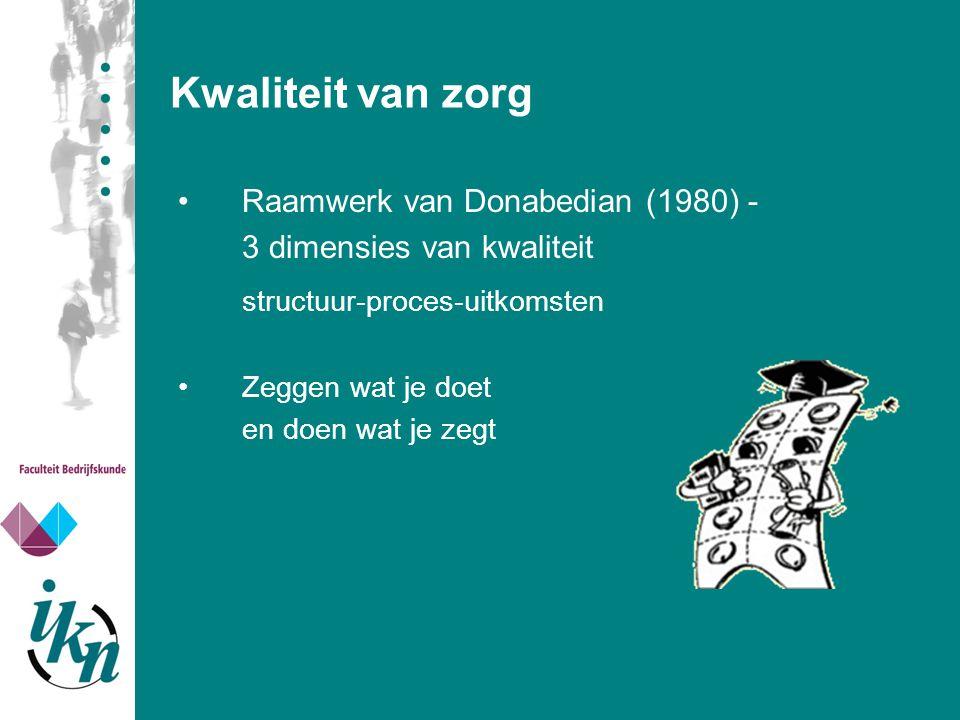 Kwaliteit van zorg Raamwerk van Donabedian (1980) - 3 dimensies van kwaliteit structuur-proces-uitkomsten Zeggen wat je doet en doen wat je zegt