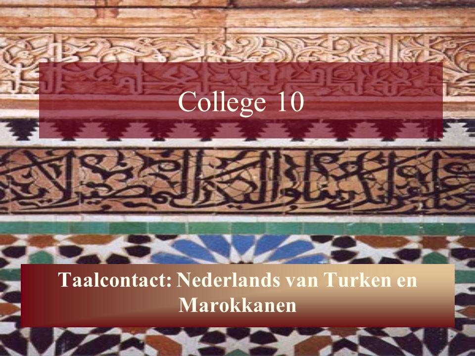 21 Het Nederlands van Turken en Marokkanen Syntactische variatie Bepaald lidwoord: de is default –Dan is eh zitten we in de laatste jaar Bijvoeglijke naamwoorden: -e (ingewikkeld, geen rol in betekenis, overbodig) –Als ik ooit met een Marokkaanse meisje ga trouwen