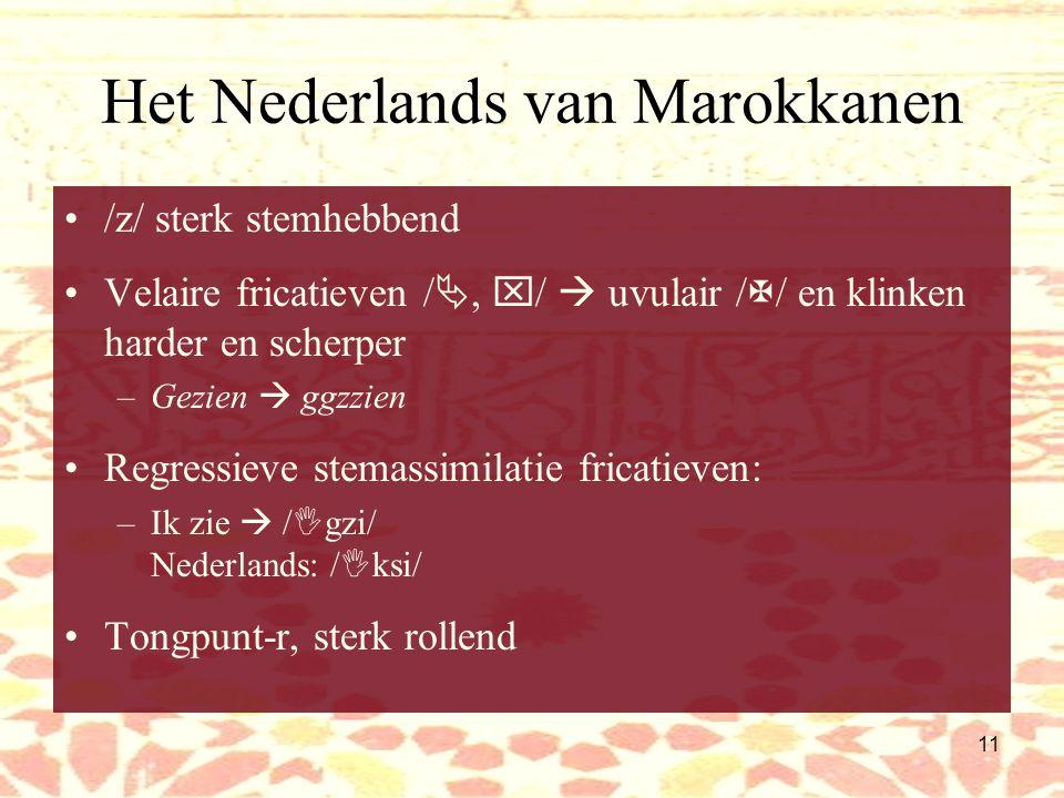 10 Het Nederlands van Marokkanen Fonologie: Medeklinkers /s/  /sj/ –Muisj, sjlapen 'Sjwa' verkort uitgesproken in open lettergrepen (in Marokk.