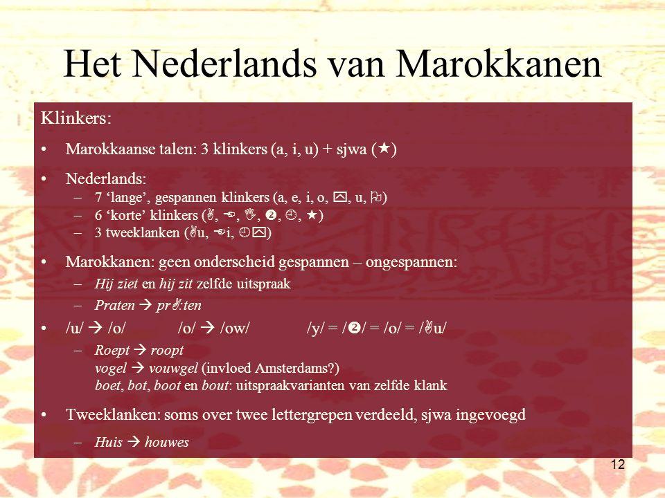 11 Het Nederlands van Marokkanen /z/ sterk stemhebbend Velaire fricatieven / ,  /  uvulair /  / en klinken harder en scherper –Gezien  ggzzien Re