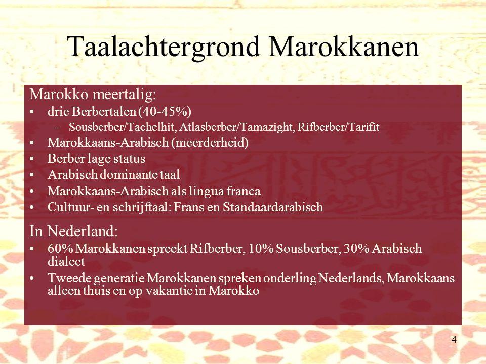 3 Achtergrond Eind jaren vijftig/begin jaren zestig: tekort aan ongeschoold personeel in Nederlandse industrie Gastarbeiders (mannen) uit Turkije en Marokko (en Joegoslavië, Griekenland, Spanje en Italië) naar Nederland Recht om te blijven, familie na 2 jaar over laten komen –Met name veel Turken en Marokkanen maakten gebruik van dit recht