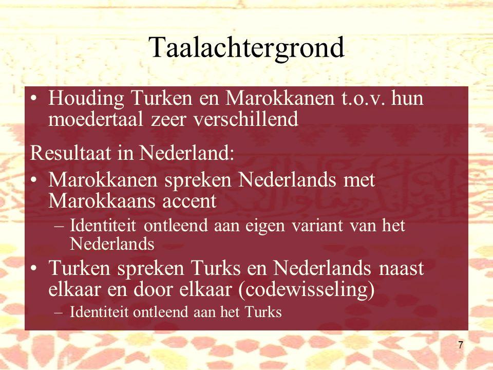27 Allochtoons accent Nederlandse perceptie van één allochtoons accent: Turko-Marokkaans –Toen meest immigranten Indisch waren werd een Indisch accent geïmiteerd, toen het meest Surinamers waren was het m.n.