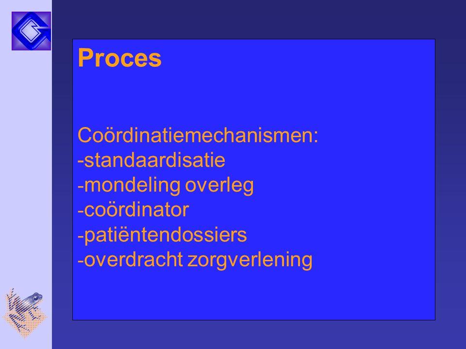 Proces Coördinatiemechanismen: -standaardisatie - mondeling overleg - coördinator - patiëntendossiers - overdracht zorgverlening