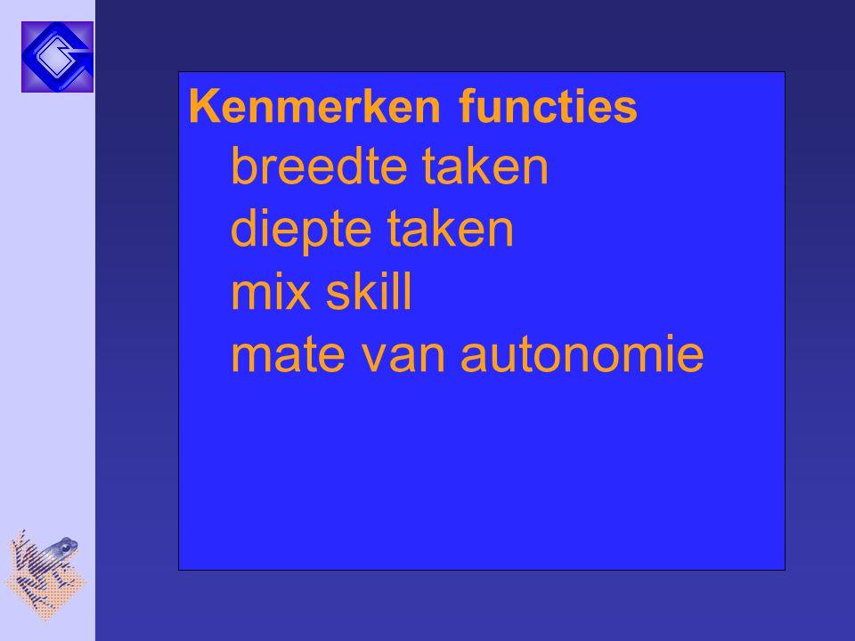 Kenmerken functies breedte taken diepte taken mix skill mate van autonomie
