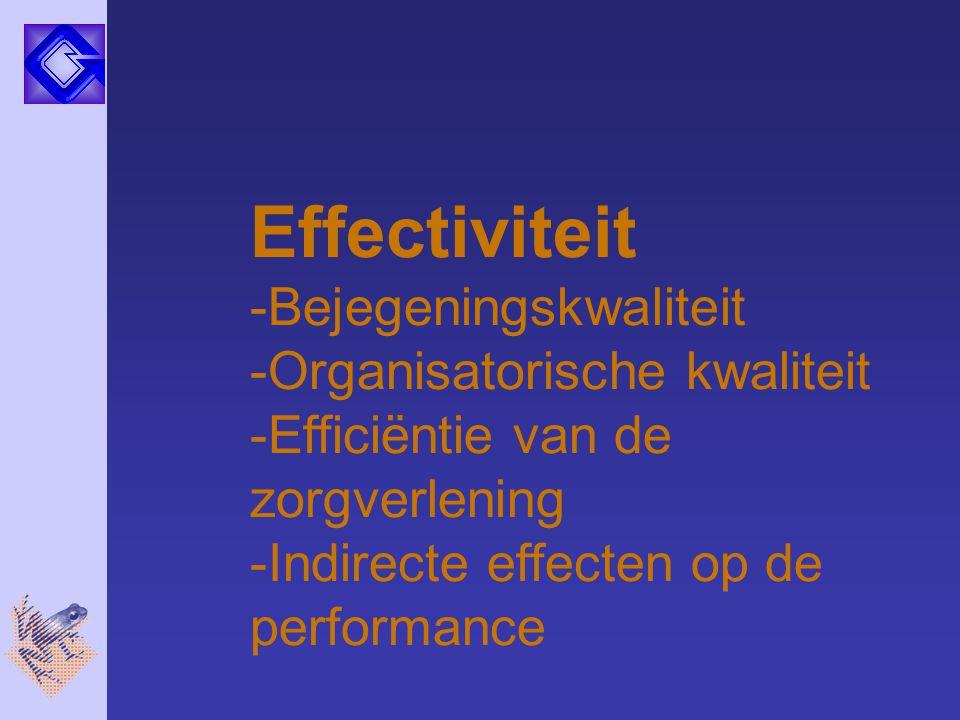Effectiviteit -Bejegeningskwaliteit -Organisatorische kwaliteit -Efficiëntie van de zorgverlening -Indirecte effecten op de performance