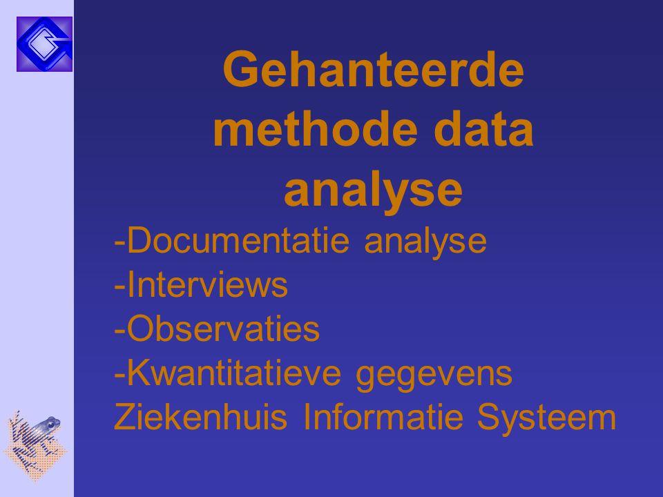 Gehanteerde methode data analyse -Documentatie analyse -Interviews -Observaties -Kwantitatieve gegevens Ziekenhuis Informatie Systeem