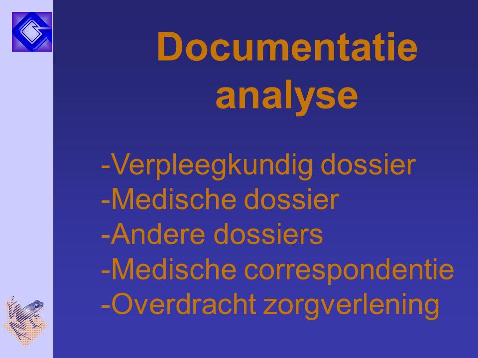 Documentatie analyse -Verpleegkundig dossier -Medische dossier -Andere dossiers -Medische correspondentie -Overdracht zorgverlening