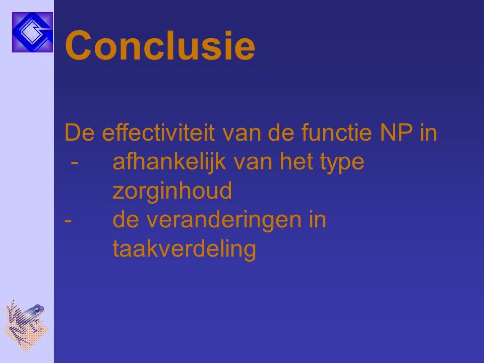Conclusie De effectiviteit van de functie NP in - afhankelijk van het type zorginhoud - de veranderingen in taakverdeling