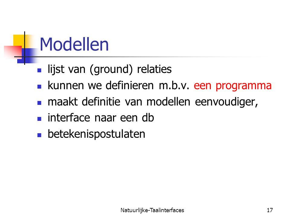 Natuurlijke-Taalinterfaces18 Modellen als programma's example(mymodel, Facts) :- findall(F,fact(F),Facts).