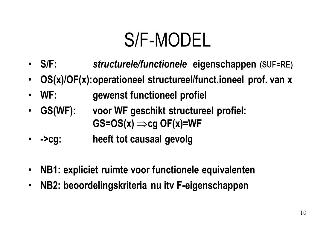 10 S/F-MODEL S/F: structurele/functionele eigenschappen (SUF=RE) OS(x)/OF(x):operationeel structureel/funct.ioneel prof.