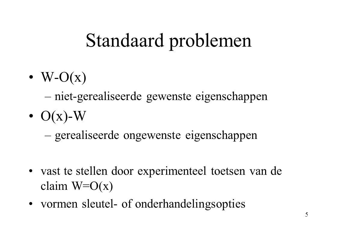 5 Standaard problemen W-O(x) –niet-gerealiseerde gewenste eigenschappen O(x)-W –gerealiseerde ongewenste eigenschappen vast te stellen door experimenteel toetsen van de claim W=O(x) vormen sleutel- of onderhandelingsopties