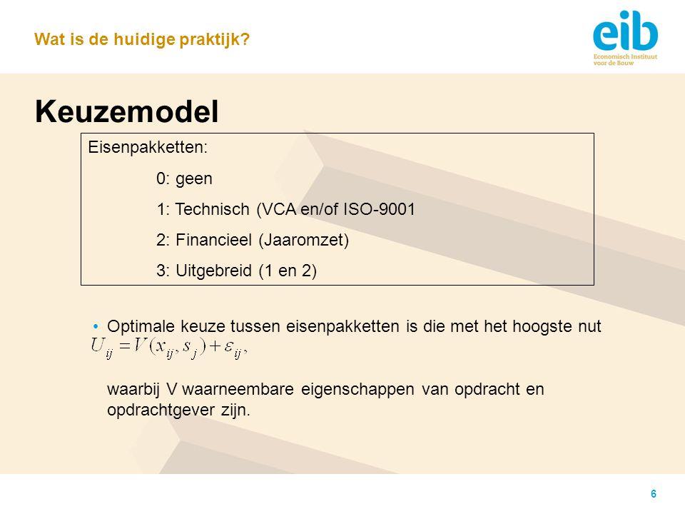 6 Keuzemodel Optimale keuze tussen eisenpakketten is die met het hoogste nut waarbij V waarneembare eigenschappen van opdracht en opdrachtgever zijn.