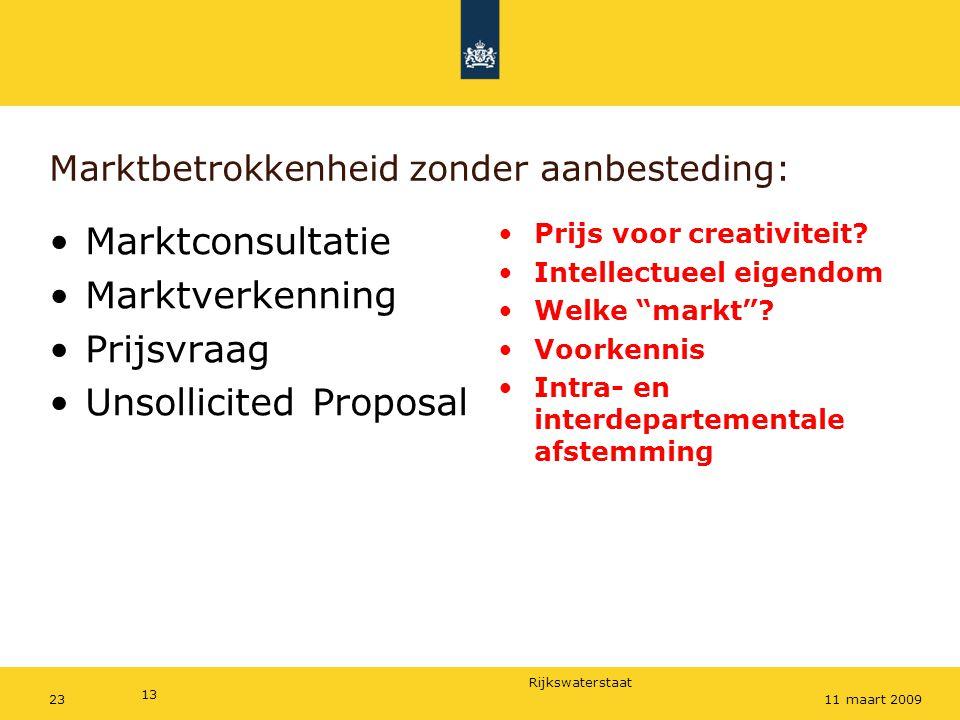 Rijkswaterstaat Marktbetrokkenheid zonder aanbesteding: Marktconsultatie Marktverkenning Prijsvraag Unsollicited Proposal Prijs voor creativiteit? Int