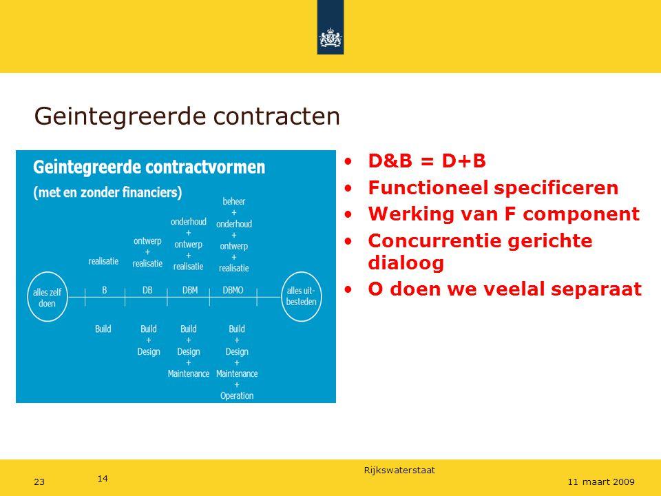 Rijkswaterstaat Geintegreerde contracten D&B = D+B Functioneel specificeren Werking van F component Concurrentie gerichte dialoog O doen we veelal sep