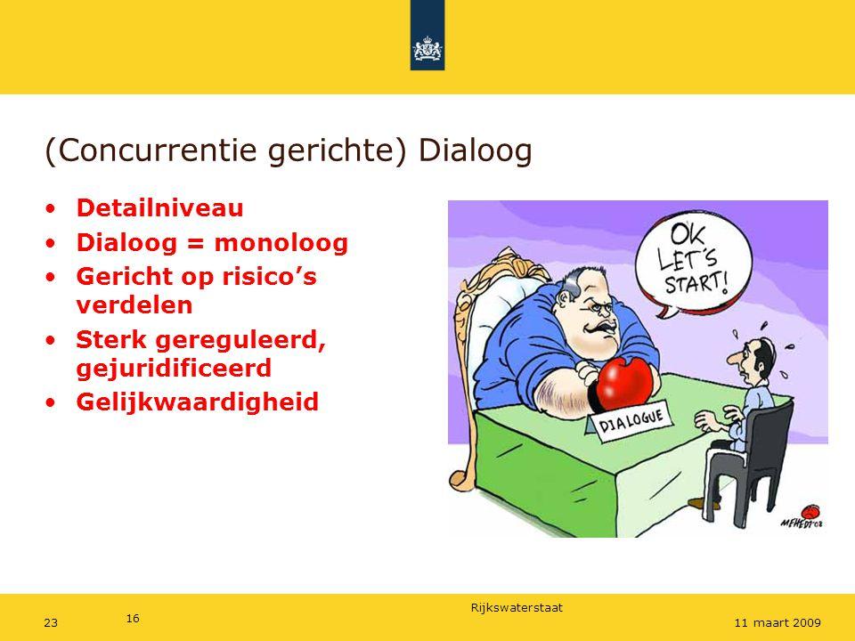 Dialoog (Concurrentie gerichte) Dialoog Detailniveau Dialoog = monoloog Gericht op risico's verdelen Sterk gereguleerd, gejuridificeerd Gelijkwaardigh