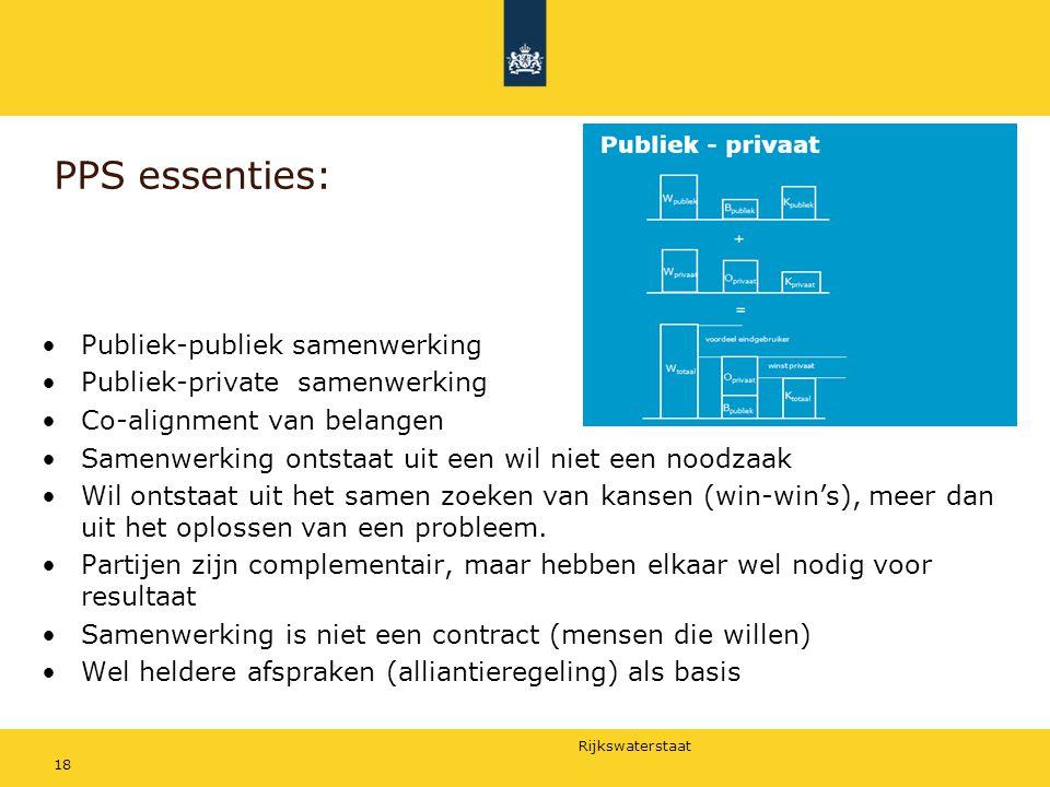 Rijkswaterstaat PPS essenties: Publiek-publiek samenwerking Publiek-private samenwerking Co-alignment van belangen Samenwerking ontstaat uit een wil n