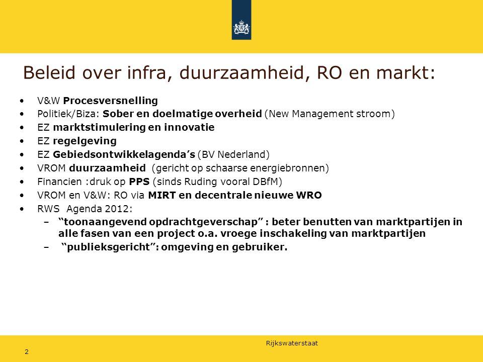 Rijkswaterstaat Beleid over infra, duurzaamheid, RO en markt: V&W Procesversnelling Politiek/Biza: Sober en doelmatige overheid (New Management stroom