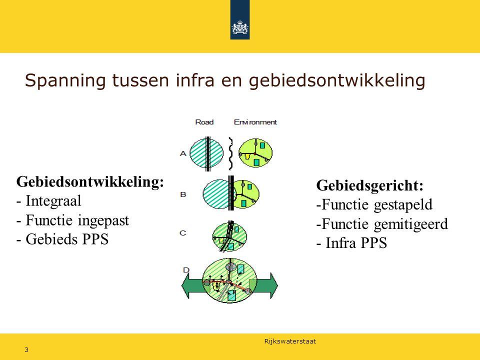 Rijkswaterstaat Spanning tussen infra en gebiedsontwikkeling 3 Gebiedsontwikkeling: - Integraal - Functie ingepast - Gebieds PPS Gebiedsgericht: -Func
